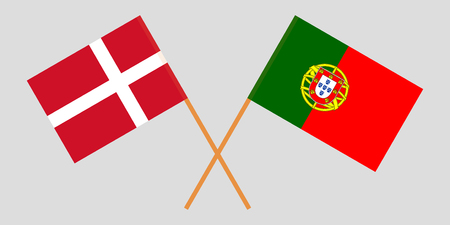 Portugal and Denmark. The Portuguese and Danish flags. Official colors. Correct proportion. Vector illustration
