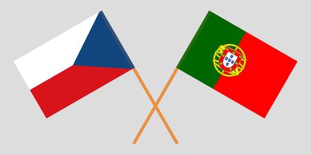 Portugal and Czech Republic. The Portuguese and Czech flags. Official colors. Correct proportion. Vector illustration Ilustração
