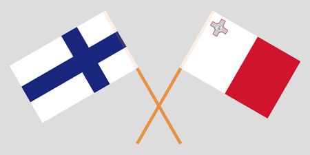 Malta and Finland. The Maltese and Finnish flags. Official colors. Correct proportion. Vector illustration