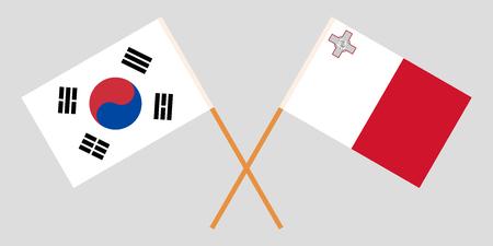 Malta and South Korea. The Maltese and Korean flags. Official colors. Correct proportion. Vector illustration Vektoros illusztráció