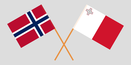 Malta and Norway. The Maltese and Norwegian flags. Official colors. Correct proportion. Vector illustration