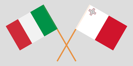 Malta and Italy. The Maltese and Italian flags. Official colors. Correct proportion. Vector illustration