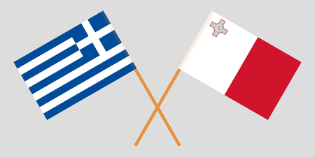 Malta and Greece. The Maltese and Greek flags. Official colors. Correct proportion. Vector illustration