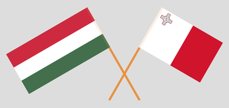 Malta and Hungary. The Maltese and Hungarian flags. Official colors. Correct proportion. Vector illustration