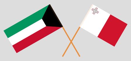 Malta and Kuwait. The Maltese and Kuwaiti flags. Official colors. Correct proportion. Vector illustration Vektoros illusztráció