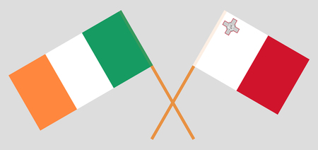 Ireland and Malta. The Irish and Maltese flags. Official colors. Correct proportion. Vector illustration