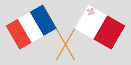 Malta and France. The Maltese and French flags. Official colors. Correct proportion. Vector illustration