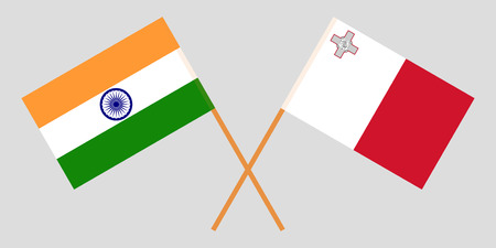 Malta and India. The Maltese and Indian flags. Official colors. Correct proportion. Vector illustration