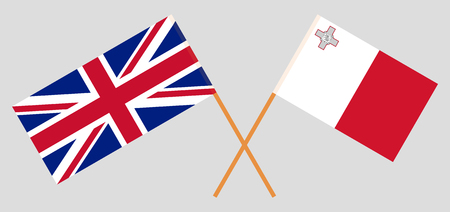 Malta and UK. The Maltese and British flags. Official colors. Correct proportion. Vector illustration