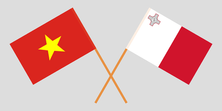 Malta and Vietnam. The Maltese and Vietnamese flags. Official colors. Correct proportion. Vector illustration