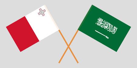 Malta and Kingdom of Saudi Arabia. The Maltese and KSA flags. Official colors. Correct proportion. Vector illustration