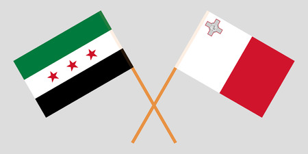 Malta and Interim Government of Syria. The Maltese and Coalition flags. Official colors. Correct proportion. Vector illustration