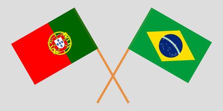 Portugal and Brazil. The Portuguese and Brazilian flags. Official colors. Correct proportion. Vector illustration Vektoros illusztráció