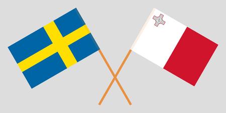 Malta and Sweden. The Maltese and Swedish flags. Official colors. Correct proportion. Vector illustration Vektoros illusztráció