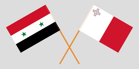 Malta and Syria. The Maltese and Syrian flags. Official colors. Correct proportion. Vector illustration