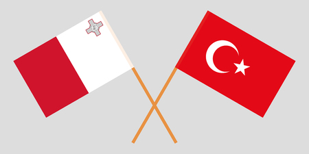 Malta and Turkey. The Maltese and Turkish flags. Official colors. Correct proportion. Vector illustration