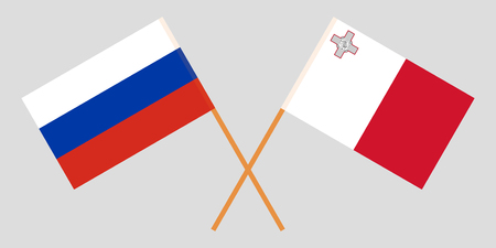 Malta and Russia. The Maltese and Russian flags. Official colors. Correct proportion. Vector illustration