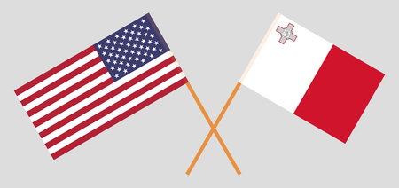 Malta and USA. The Maltese and United States of America flags. Official colors. Correct proportion. Vector illustration Vektoros illusztráció