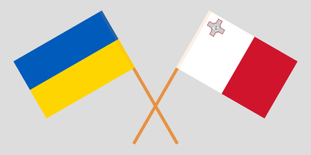 Malta and Ukraine. The Maltese and Ukrainian flags. Official colors. Correct proportion. Vector illustration