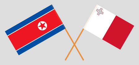 Malta and North Korea. The Maltese and Korean flags. Official colors. Correct proportion. Vector illustration