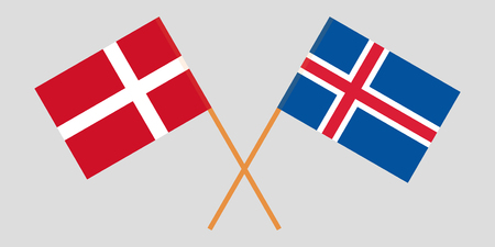 Iceland and Denmark. The Icelandic and Danish flags. Official colors. Correct proportion. Vector illustration Ilustração