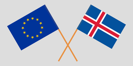 Iceland and EU. The Icelandic and European flags. Official colors. Correct proportion. Vector illustration