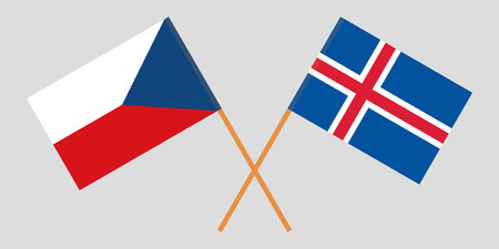 Iceland and Czech Republic. The Icelandic and Czech flags. Official colors. Correct proportion. Vector illustration Ilustração