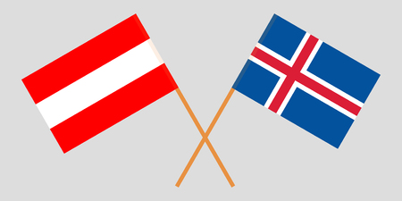 Iceland and Austria. The Icelandic and Austrian flags. Official colors. Correct proportion. Vector illustration