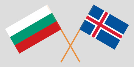 Iceland and Bulgaria. The Icelandic and Bulgarian flags. Official colors. Correct proportion. Vector illustration