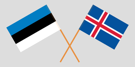 Iceland and Estonia. The Icelandic and Estonian flags. Official colors. Correct proportion. Vector illustration Ilustração