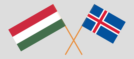 Iceland and Hungary. The Icelandic and Hungarian flags. Official colors. Correct proportion. Vector illustration Ilustração