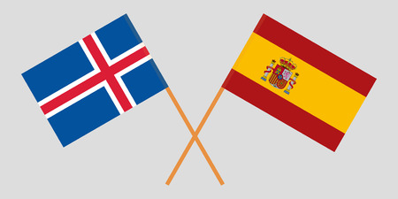 Iceland and Spain. The Icelandic and Spanish flags. Official colors. Correct proportion. Vector illustration Ilustração