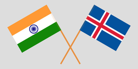 Iceland and India. The Icelandic and Indian flags. Official colors. Correct proportion. Vector illustration Ilustração