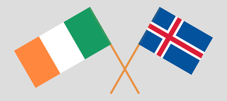 Iceland and Ireland. The Icelandic and Irish flags. Official colors. Correct proportion. Vector illustration Ilustração