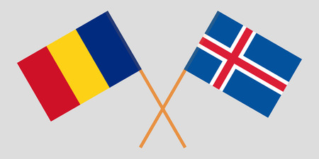 Iceland and Romania. The Icelandic and Romanian flags. Official colors. Correct proportion. Vector illustration