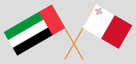 Malta and United Arab Emirates. The Maltese and UAE flags. Official colors. Correct proportion. Vector illustration