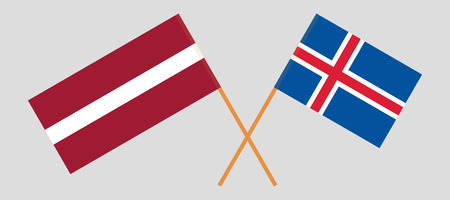 Iceland and Latvia. The Icelandic and Latvian flags. Official colors. Correct proportion. Vector illustration