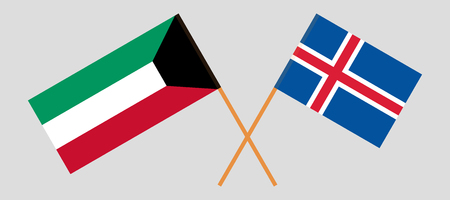 Iceland and Kuwait. The Icelandic and Kuwaiti flags. Official colors. Correct proportion. Vector illustration Ilustração