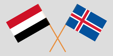 Iceland and Yemen. The Icelandic and Yemeni flags. Official colors. Correct proportion. Vector illustration