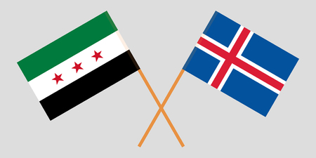 Iceland and Interim Government of Syria. The Icelandic and Coalition flags. Official colors. Correct proportion. Vector illustration Ilustração