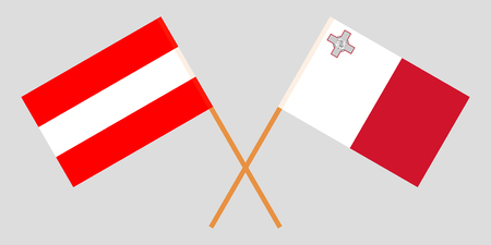 Malta and Austria. The Maltese and Austrian flags. Official colors. Correct proportion. Vector illustration