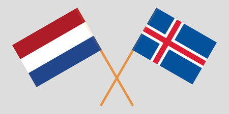 Iceland and Netherlands. The Icelandic and Netherlandish flags. Official colors. Correct proportion. Vector illustration Ilustração