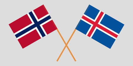 Iceland and Norway. The Icelandic and Norwegian flags. Official colors. Correct proportion. Vector illustration