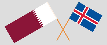 Iceland and Qatar. The Icelandic and Qatari flags. Official colors. Correct proportion. Vector illustration