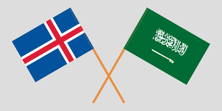 Iceland and Kingdom of Saudi Arabia. The Icelandic and KSA flags. Official colors. Correct proportion. Vector illustration