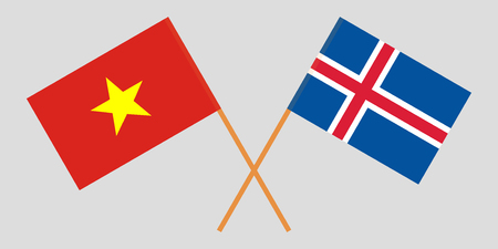 Iceland and Vietnam. The Icelandic and Vietnamese flags. Official colors. Correct proportion. Vector illustration