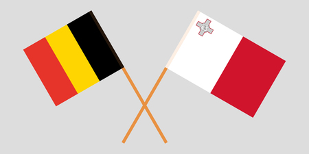 Malta and Belgium. The Maltese and Belgian flags. Official colors. Correct proportion. Vector illustration