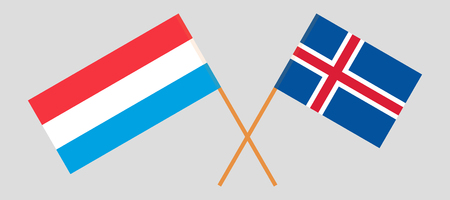 Iceland and Luxembourg. The Icelandic and Luxembourgish flags. Official colors. Correct proportion. Vector illustration