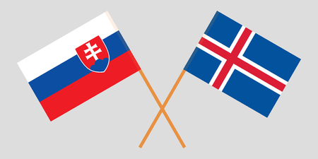 Iceland and Slovakia. The Icelandic and Slovakian flags. Official colors. Correct proportion. Vector illustration Ilustração