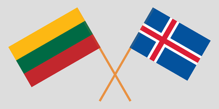 Iceland and Lithuania. The Icelandic and Lithuanian flags. Official colors. Correct proportion. Vector illustration